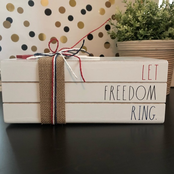 Rae Dunn LET FREEDOM RING wooden book decor